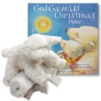 God Gave Us Christmas and Winky Lamb and Blanket Personalized Gift Set