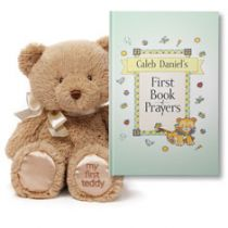 My First Book of Prayers and Teddy Bear Plush Personalized Gift Set