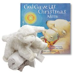 God Gave Us Christmas and Winky Lamb and Blanket Gift Set (For Girls)