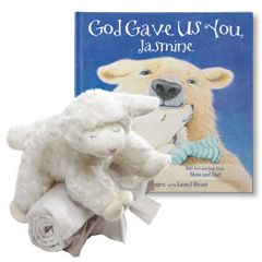 God Gave Us You and Winky Lamb and Blanket Personalized Gift Set