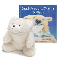God Gave Us You and Polar Bear Plush Personalized Gift Set