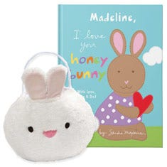 I Love You Honey Bunny and Baby Bunny Easter Basket Gift Set