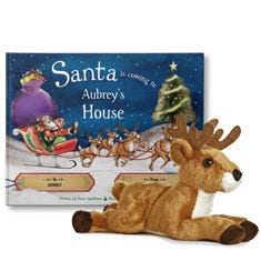 Santa is Coming to My House and Reindeer Plush Gift Set