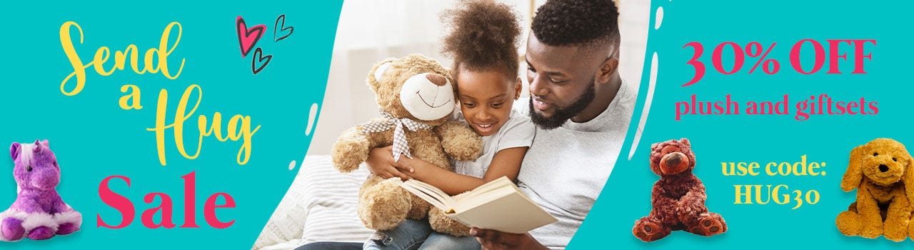 30% off personalized plush giftsets for kids