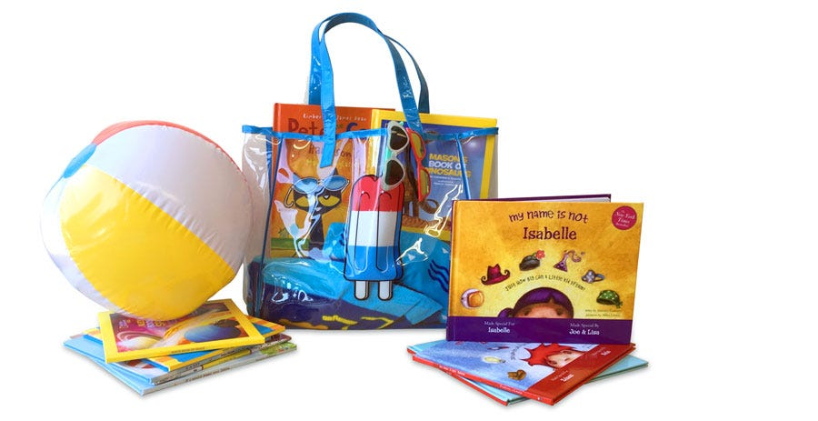 Enter to win: 10 Personalized books from Put Me In The Story, A beach bag with: 2 towels, 2 inner tubes, 1 beach ball, 2 pairs of sunglasses
